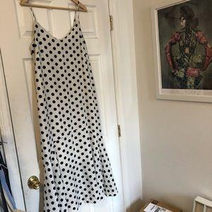 Spaghetti strap white and black polka dot dress